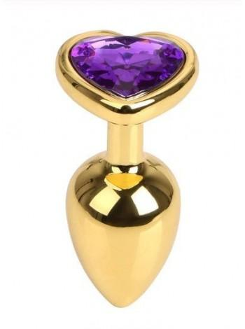 Золотистая анальная пробка Gold Metal Heart Dark Violet, 7,5х2,8см