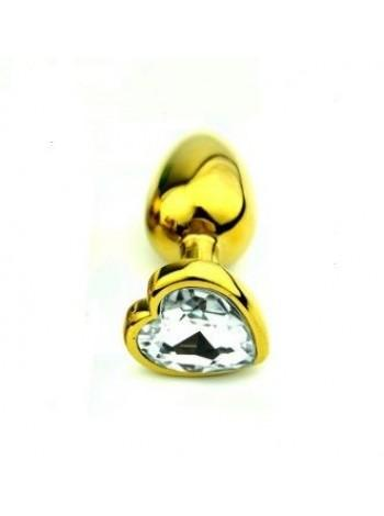 Анальнаяпробка с камнем Gold Metal Heart Diamond, 7,5х2,8см