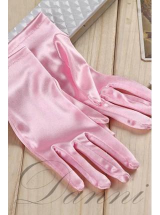 Атласные розовые перчатки