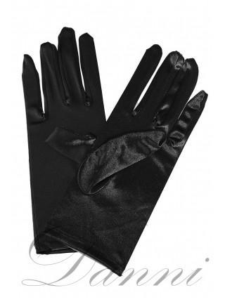 Атласные черные перчатки