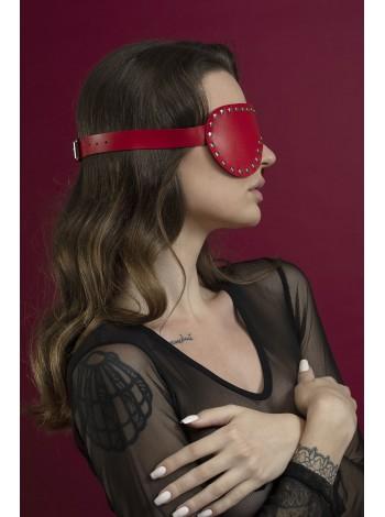 Красная кожаная маска на глаза с заклепками Feral Feelings - Blindfold Mask