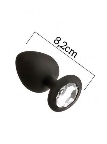 Анальная пробка с кристаллом MAI Attraction Toys №48 Black, 8,2х3,5см