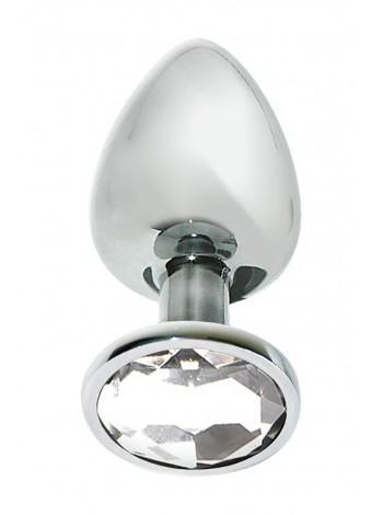 Металлическая анальная пробка с кристаллом MAI Attraction Toys №74, 10х4см