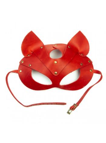Красная премиум маска кошечки LOVECRAFT из натуральной кожи в подарочной упаковке