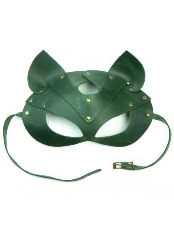 Зеленая премиум маска кошечки LOVECRAFT из натуральной кожи в подарочной упаковке