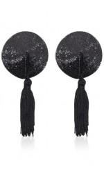 Круглі пестіси чорного кольору на груди з китичками