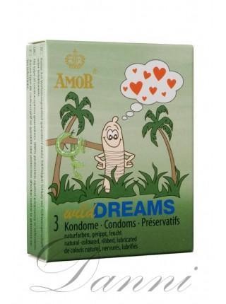 Презервативи з ребристою поверхнею - Amor wild Dreams 3 шт