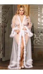 Прозрачный белый халат «Queen»