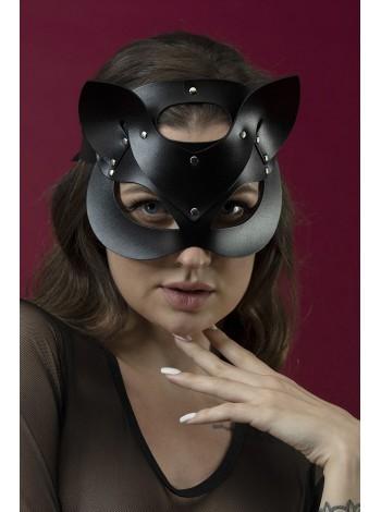 Черная маска кошечки из натуральной кожи Feral Feelings - Catwoman Mask
