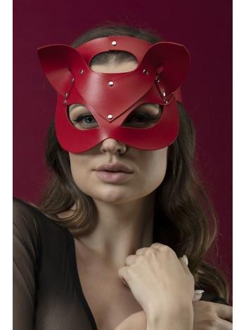 Красная маска кошки из натуральной кожи Feral Feelings - Catwoman Mask