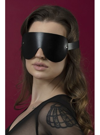 Черная маска на глаза из натуральной кожи Feral Feelings - Blindfold Mask