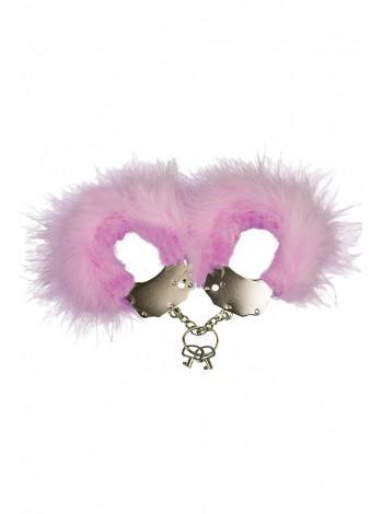 Металлические наручники с розовым пухом Adrien Lastic Handcuffs Pink