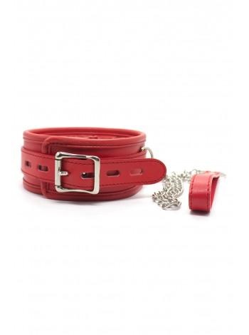 Мягкий БДСМ ошейник с поводком красного цвета