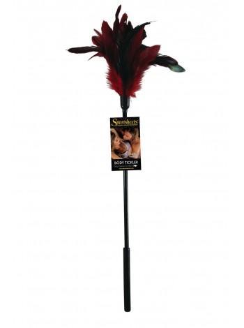Щекоталка из натурального пера Sportsheets Starburst Tickler черно-красная