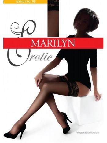 Черные чулки с резинкой на силиконе Marilyn Erotic 15den, размер 5