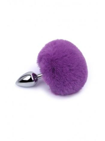 Анальная пробка с пушистым фиолетовым хвостиком