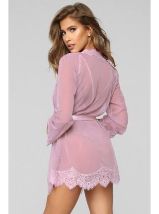Розовый полупрозрачный халатик