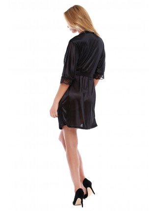Чорний боді з атласним халатом